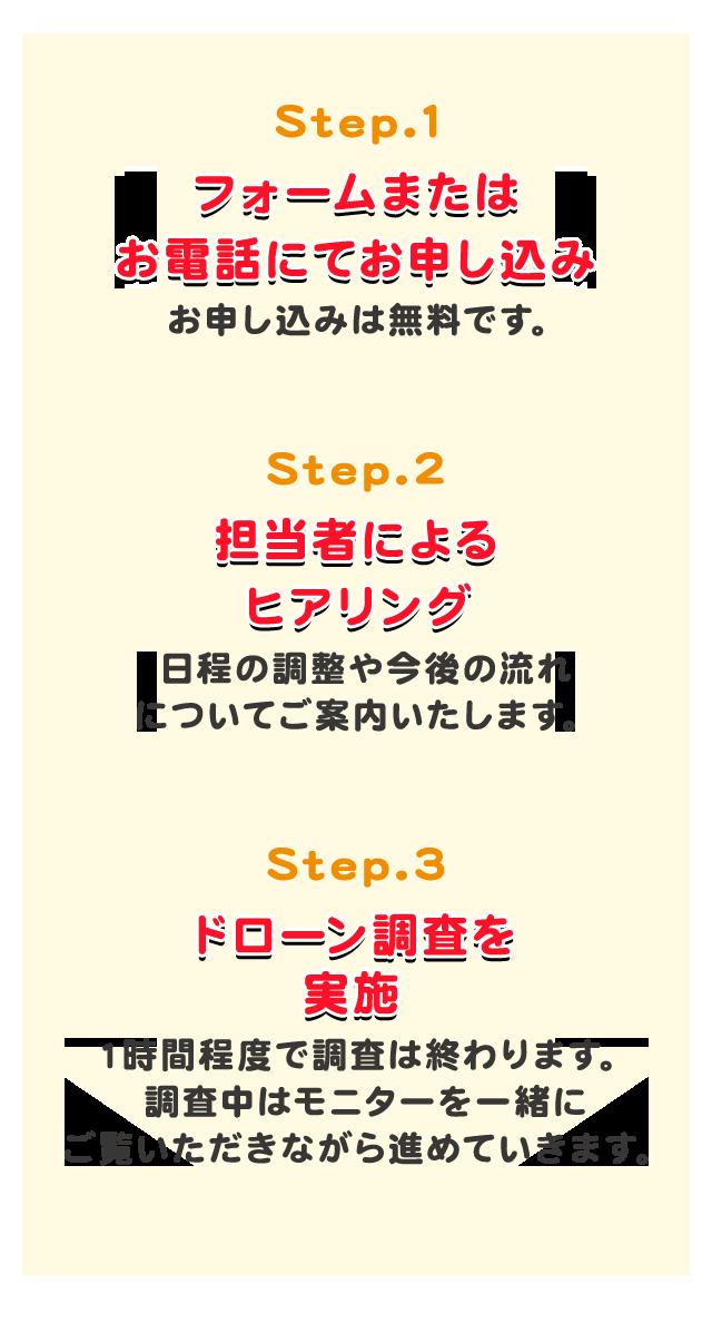 Step.1 フォームまたはお電話にてお申し込み お申し込みは無料です。 Step.2 担当者によるヒアリング 日程の調整や今後の流れについてご案内いたします。 Step.3 ドローン調査を実施 1時間程度で調査は終わります。調査中はモニターを一緒にご覧いただきながら進めていきます。